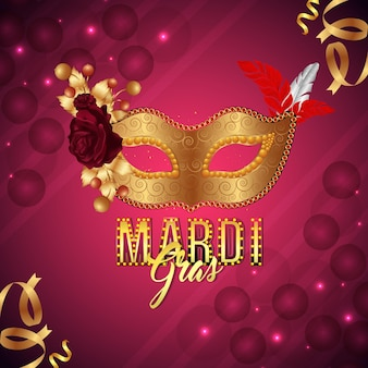 Mardi gras party greeting card and background