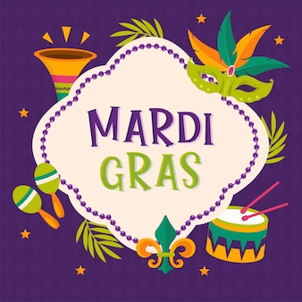 마디 그라 파티 포스터. 서예 및 타이포그래피 카드