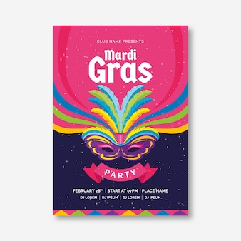 Mardi gras party poster flyer template