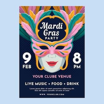 Mardi gras poster template in flat design