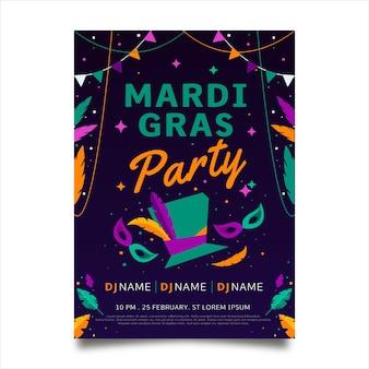 Modello di poster mardi gras in design piatto