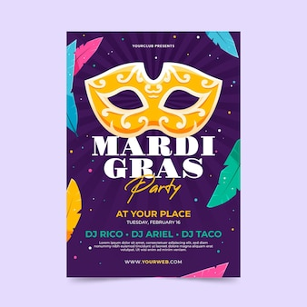 Mardi gras poster template in flat design