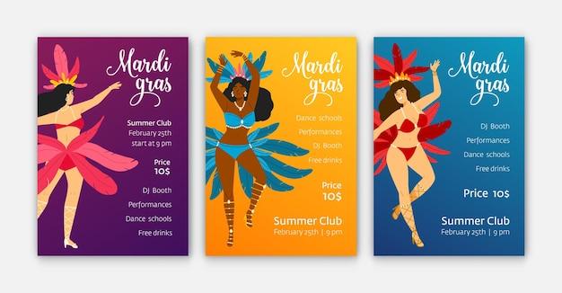 Шаблоны плакатов марди гра с танцовщицами в карнавальных костюмах