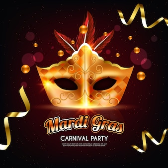 Mardi gras realistic design with golden mask and ribbons
