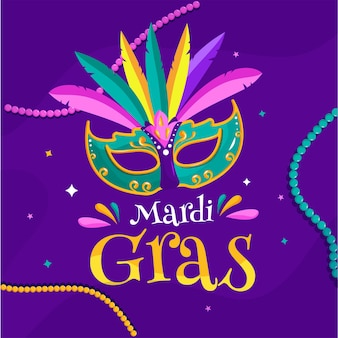 Mardi gras text with colorful carnival mask on purple background