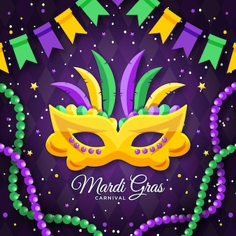 Mardi gras text with mask illustrated