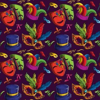 マルディグラのテーマのシームレスパターン