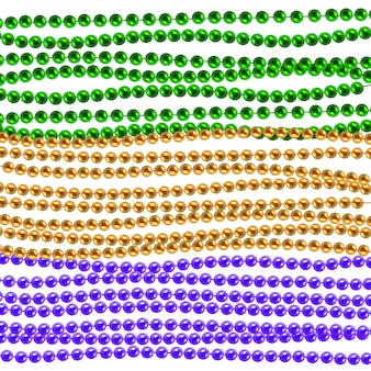 Mardi gras traditional necklaces. gold, green, purple beads isolated on white background. set for celebratory design, xmas holiday, greeting card. mardi gras decorations, design element.