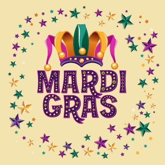 Mardi gras with jester hat and star