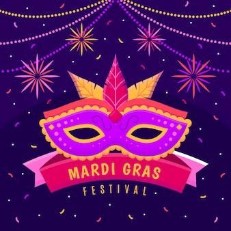 Mardi gras con design piatto maschera e piume