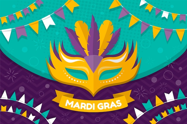 Mardi gras with mask and feathers