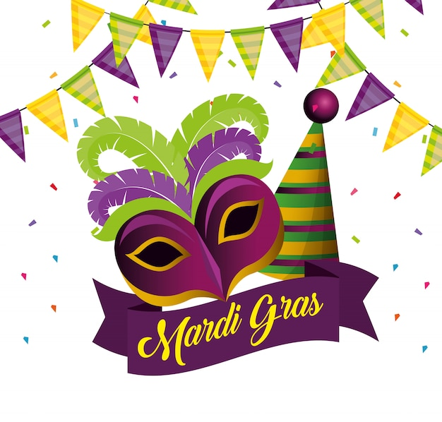 Mardi gras with party mask and hat