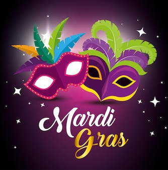 Mardi gras with party masks for festival