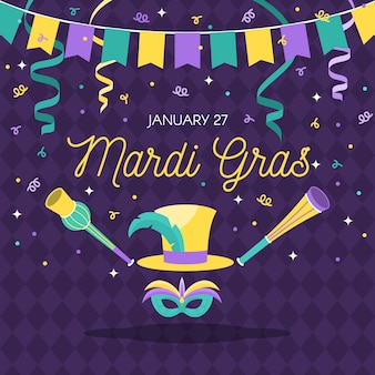 Mardi gras with ribbon confetti and mask