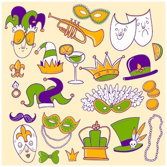 Рисованной mardi gras каракули набор