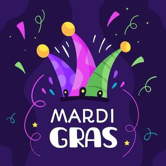 Mardi gras плоский дизайн с шляпой шута