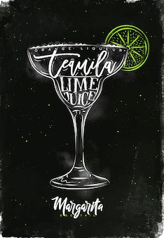 Маргарита коктейль надписи апельсиновый ликер, текила, сок лайма в винтажном графическом стиле рисунок мелом и цветом на фоне классной доски