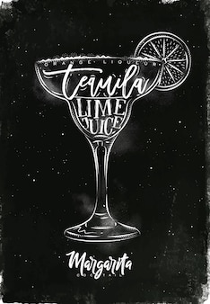 Margarita cocktail with lettering on chalkboard style