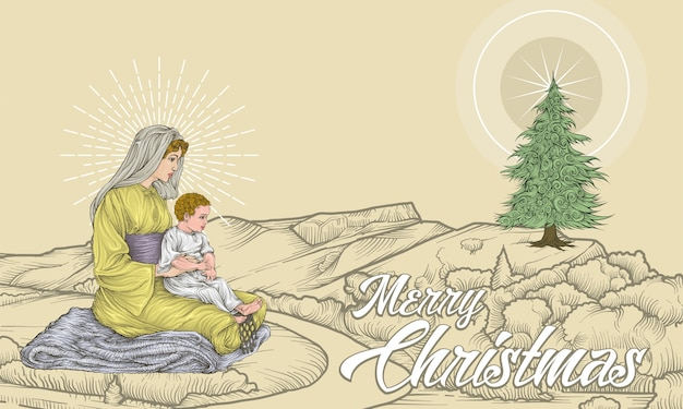 Maria and baby jesus sitting on landscape with star and christmas tree