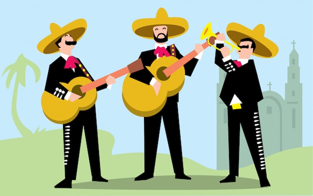 Mariachi band in sombrero with guitar.