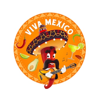 Mariachi chili pepper in sombrero playing guitar