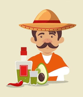 Mariachi man wearing hat with tequila and avocado