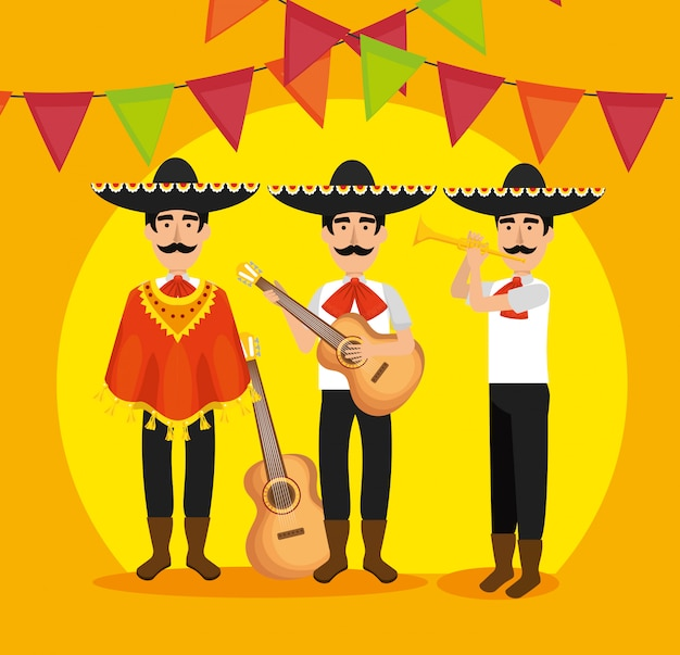 Mariachi men with instruments and party banner