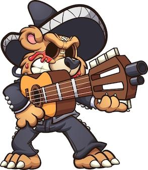 Мишка марьячи плачет кровью и держит гитару