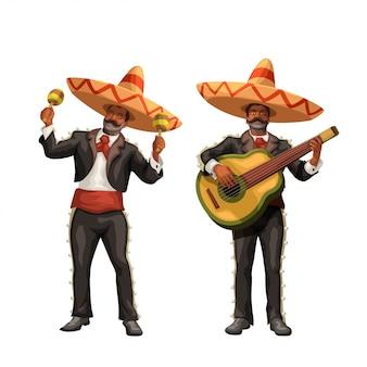 Мариачи с гитарой и маракасы