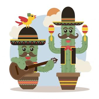 かわいいメキシコのサボテンmariachis