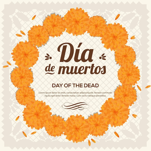 Marigold flower wreath - day of the dead copy space composition