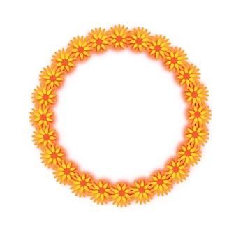 Гирлянда из календулы. желтый оранжевый бумажный срезанный цветок. индийский фестиваль цветов и листьев манго. счастливого дивали, дасара, душера, угади. декоративные элементы для индийского праздника. круглая рамка. вектор