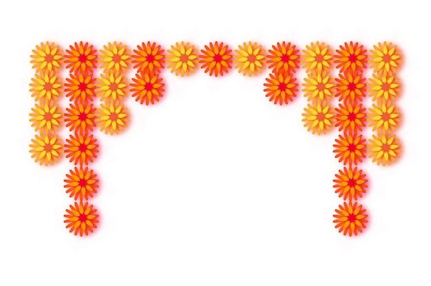 Гирлянда из календулы. желтый оранжевый бумажный срезанный цветок. индийский фестиваль цветов и листьев манго. счастливого дивали, дасара, душера, угади. декоративные элементы для индийского праздника. вектор