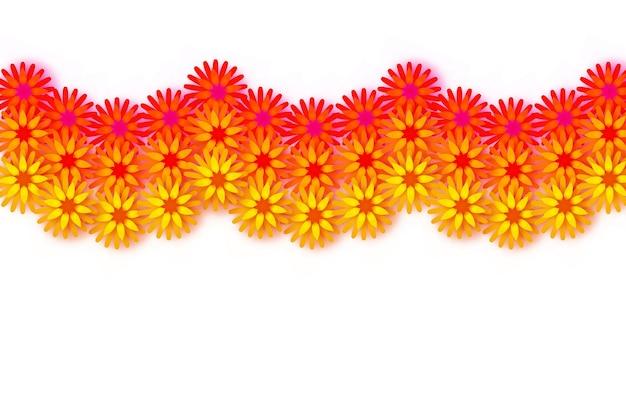 マリーゴールドガーランド。イエローオレンジペーパーカットフラワー。インドのお祭りの花とマンゴーの葉。ハッピーディワリ、ダサラ、ダシャラ、ウガディ。インドのお祝いのための装飾的な要素。ベクター