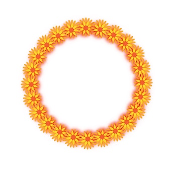 Marigold garland. yellow orange paper cut flower. indian festival flower and mango leaf. happy diwali, dasara, dussehra, ugadi. decorative elements for indian celebration. circle frame. vector