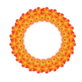 Бархатцы. зеленая гирлянда из листьев. желтый оранжевый бумажный срезанный цветок. индийский фестиваль цветов и листьев манго. счастливого дивали, дасара, душера, угади. декоративные элементы для индийского праздника. круглая рамка.