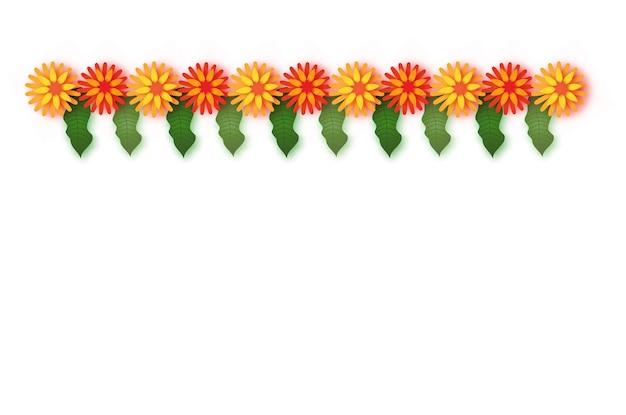 Бархатцы. зеленая гирлянда из листьев. желтый оранжевый бумажный срезанный цветок. индийский фестиваль цветов и листьев манго. счастливого дивали, дасара, душера, угади. декоративные элементы для индийского праздника. вектор.