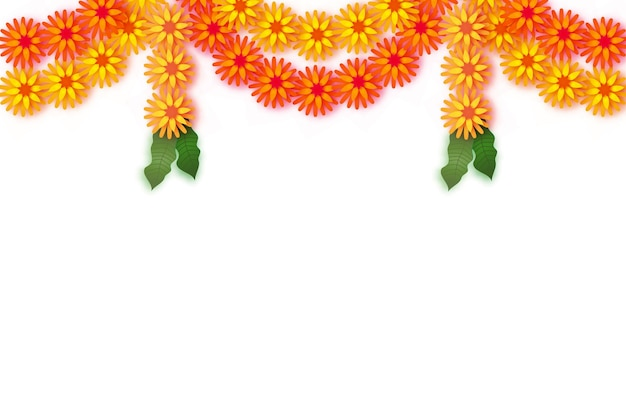 マリーゴールド。グリーンリーフガーランド。イエローオレンジペーパーカットフラワー。インドのお祭りの花とマンゴーの葉。ハッピーディワリ、ダサラ、ダシャラ、ウガディ。インドのお祝いのための装飾的な要素。ベクター。
