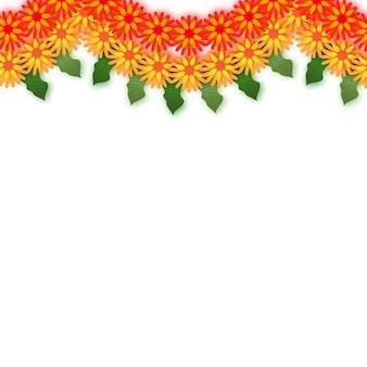 Бархатцы. зеленая гирлянда из листьев. желтый оранжевый бумажный срезанный цветок. индийский фестиваль цветов и листьев манго. счастливого дивали, дасара, душера, угади. декоративные элементы для индийского праздника.