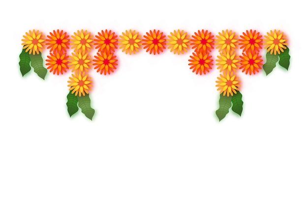 マリーゴールド。グリーンリーフガーランド。イエローオレンジペーパーカットフラワー。インドのお祭りの花とマンゴーの葉。ハッピーディワリ、ダサラ、ダシャラ、ウガディ。インドのお祝いのための装飾的な要素。