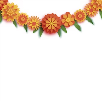 Marigold. green leaf garland. yellow orange paper cut flower. indian festival flower and mango leaf. happy diwali, dasara, dussehra, ugadi. decorative elements for indian celebration. vector.