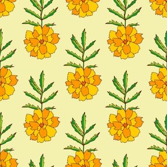 Marigold seamless pattern. floral pattern print with orange marigold flowers.