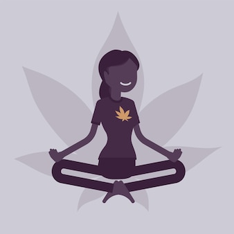 Marijuana or cannabis drug for medical, recreational purpose. woman relaxing in lotus pose, happy patient relieves symptom smoking herb, enjoys narcotic effect. vector illustration, faceless character