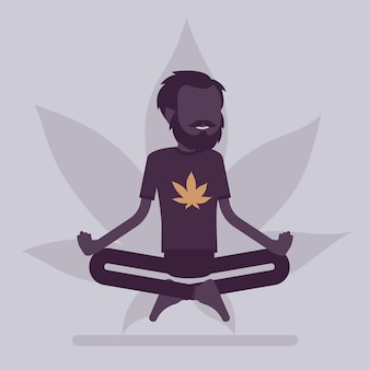 Marijuana or cannabis drug for medical, recreational purposes. man relaxing in lotus pose, happy patient relieves symptom smoking herb, enjoys narcotic effect. vector illustration, faceless character
