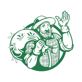 마리화나 대마초 농부 로고