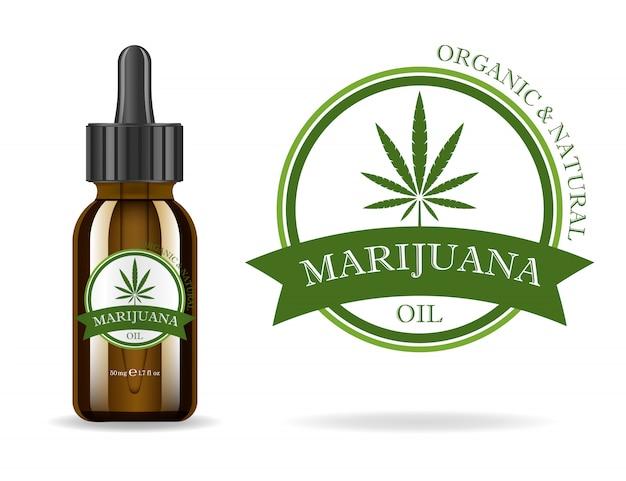 マリファナ、大麻、麻油。大麻抽出物を含む現実的な茶色のガラス瓶。アイコン製品ラベルとロゴグラフィックテンプレート。孤立した図。