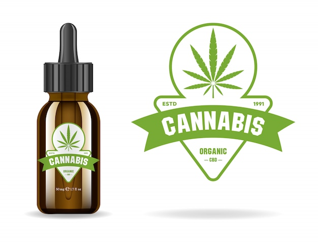 Marijuana, cannabis, hemp oil. realistic brown glass bottle with cannabis extract. icon product label and logo graphic template. isolated  illustration.