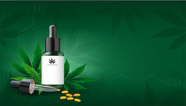 Marijuana or cannabis leaf background. hemp oil and cannabis leaf on green background. healthy cannabis oil, vector illustration.
