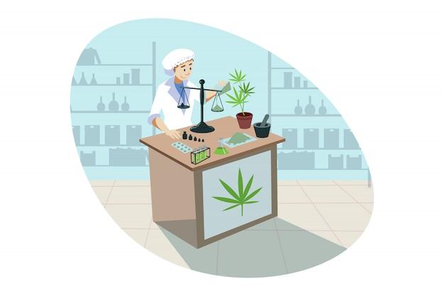 Marijuana, cannabis, medical research, analysis, drug concept.
