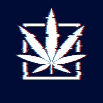 Marijuana glitch poster. cannabis leaf and square sign with broken pixel effect on a modern distorted background